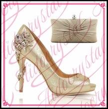 Aidocrystal Gold Farbe Strass Passenden Schuhe Und Tasche Set Frauen Sandalen Hochzeit Schuhe Partei Kleid Schuhe Nach Maß