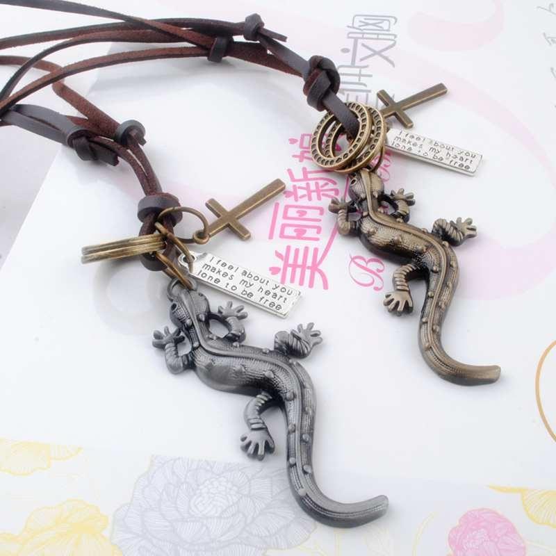 Trendy fashion vintage punk Lizard pendants charms men genuine leather necklaces jewelry sweater chain for women wholesale lots