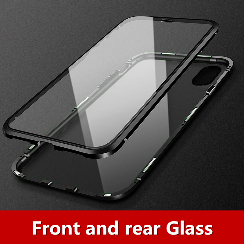 Magnetic Adsorption Metal Case For iPhone X XS 7 8 Plus Magnet Tempered Glass Phone Cases For iPhone 7 Plus Clear Flip Cover in Flip Cases from Cellphones Telecommunications