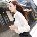 Free Shipping Button Solid 2016  New Long-sleeve Shirt Female Chiffon Women's Slim Clothing  JN185