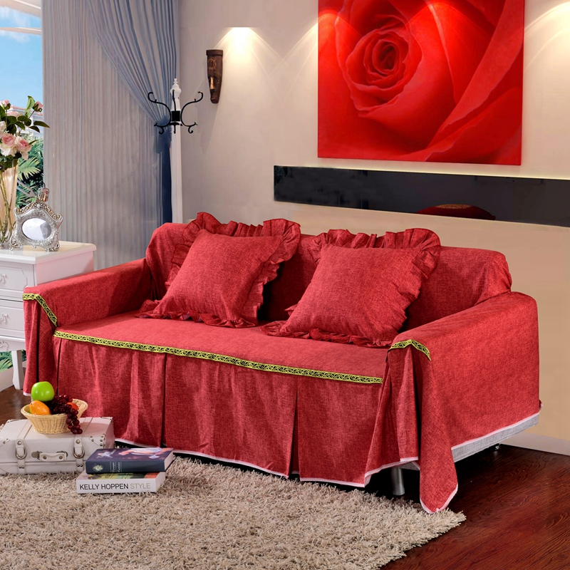 Wonderful SunnyRain Thick Cotton Canvas Solid Color Red Sofa Covers L Shaped Sofa  Cover Sofa Slipcover Couch Cover Sofa Protector In Sofa Cover From Home U0026  Garden On ...
