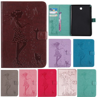 For IPad Air Air 2 Case Cat Girl Embossed PU Leather Magnetic Stand Case With Auto