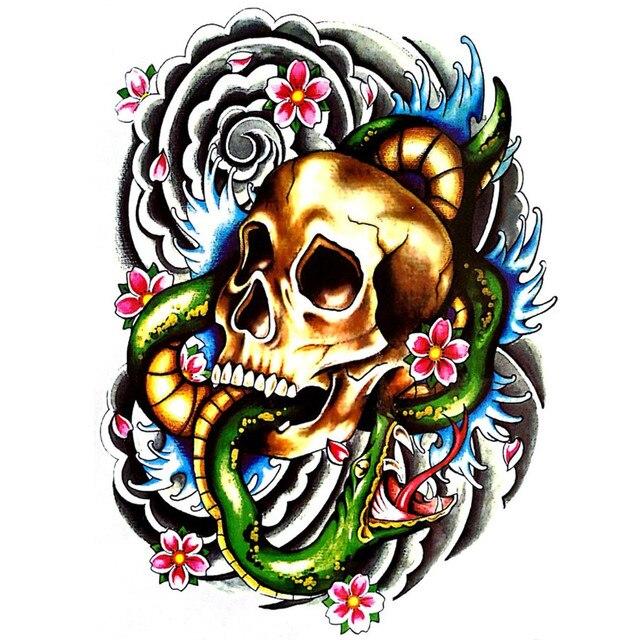 Cool Colorful Skull Temporary Tatoos Waterproof Tattoo Sticker Body Art