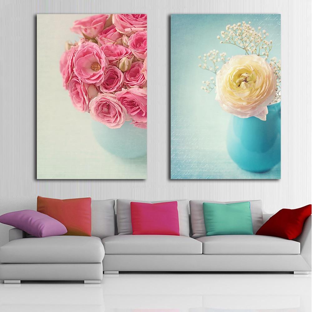 Frameless Canvas Art Oil Painting Flower Painting Design: 2 Panel Flowers In Vase Modern Print Frameless Canvas Art