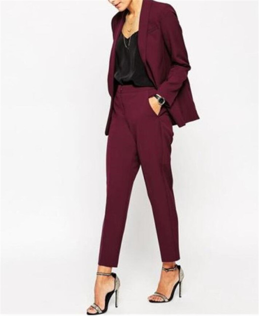 Burgundy Women Pantsuits Tuxedo 2 Piece Set(Jacket+Pants) Women ...