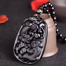 Drop Shipping Obsidian Pendant Natural Black A Pegasu Double PiXiu Necklace For Women Men Fine Jewelry