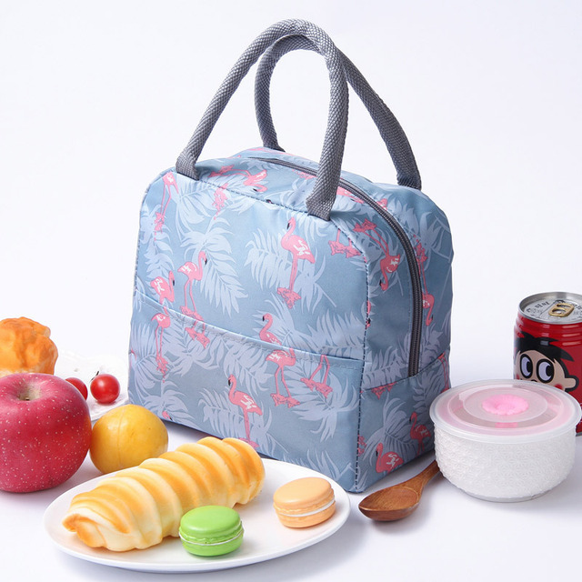 Waterproof flamingo Thermal Lunch Bag for Women Kids Men Office work  Insulated Cooler Storage pack Adults Picnic Food Box Tote