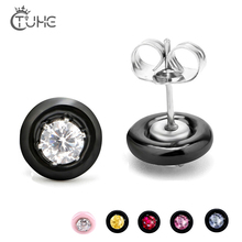 все цены на 6pcs/Set Round Ceramic Stud Earrings With Colorful Crystal For Women Fashion Jewelry Black White Pink Ceramic Daily Jewelry Gift