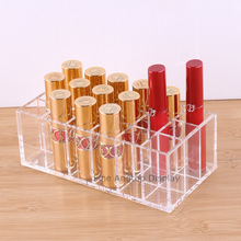 Acrylic Jewelry Storage Box Lipstick Display Stand Organizer Tray With 18 Compartments