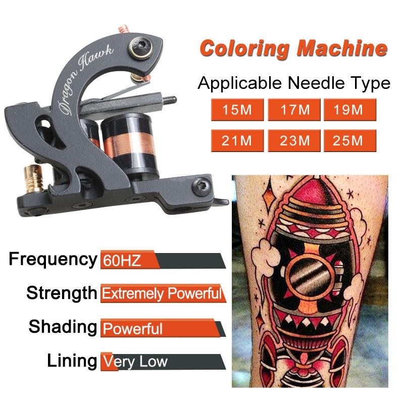 Profesjonell Tattoo Kit Machine 4 Style Guns Set Med Disposable - Tatovering og kroppskunst - Bilde 5