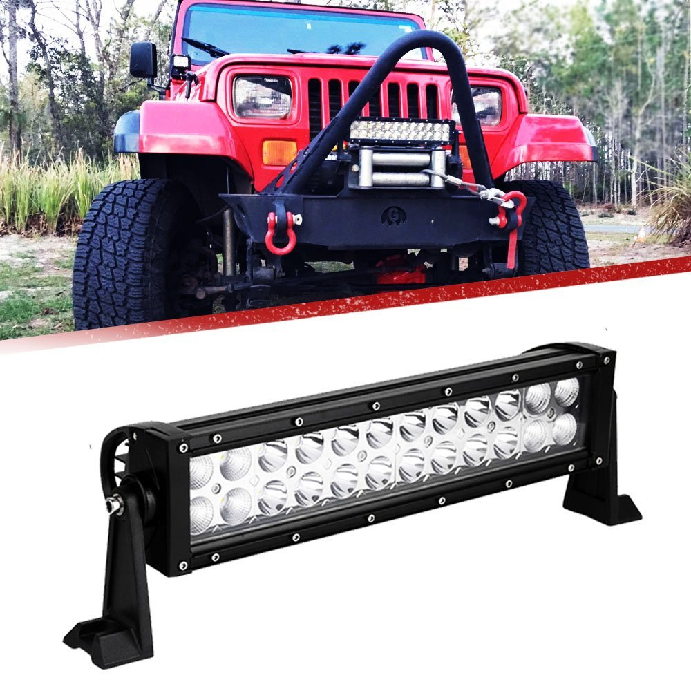 Reverse BackUp 12 Fog Light 72W Offroad Light Bar on Auxiliary Front Roof Rack Rear Bump ...
