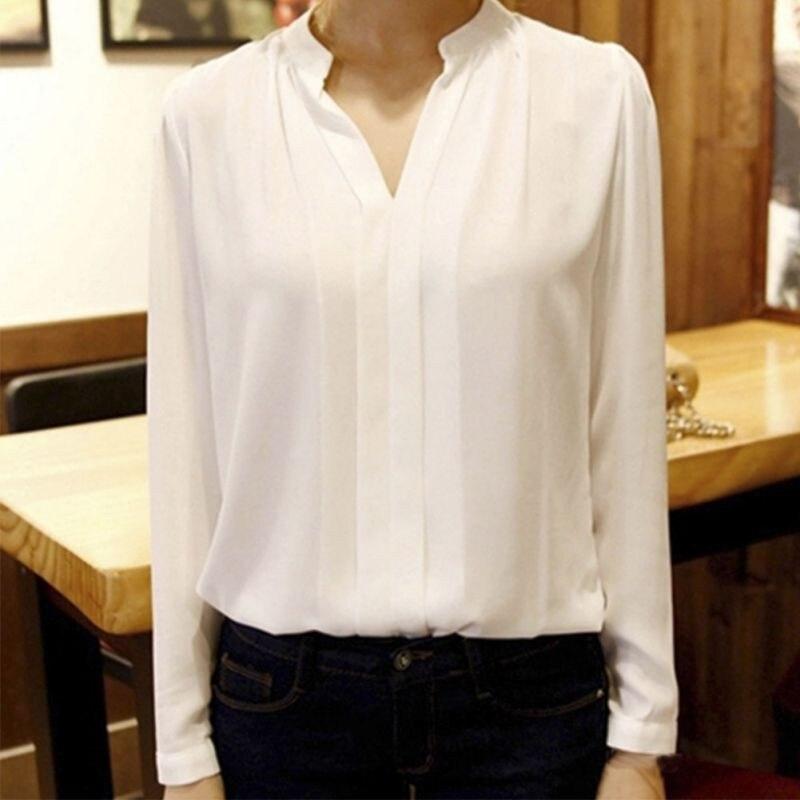 HTB10swaNVXXXXXYXVXXq6xXFXXXq - Women Chiffon Blouse Ladies V-neck Long Sleeve Shirt