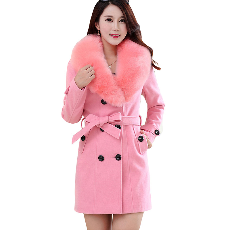 2017 Autumn Winter Fashion Women Wool Coat Slim Cashmere Outerwear Fur Collar Warm Cashmere Jackets Female Plus Size M 5XL Coat