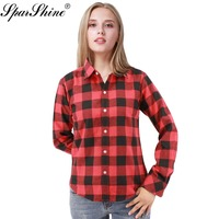SPARSHINE 2017 Fashion Red Black Plaid Shirts Women Tops Cotton Blouse Shirt Chemise Femme Camisa Feminino