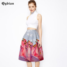 981b82796f8a Qybian Casual Skirts Womens Faldas Vintage 2018 High Waist Skirt Flamingo flower  3d printed Saias Femininas