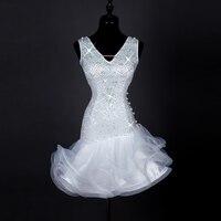 Women Girls adult white Dance skirt Ballroom Cha Cha Rumba Samba Latin Dresses Competition Performance Dance Dress