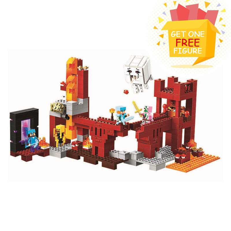Bela Compatible Legoe Minecrafte The Nether Fortress model My World Zombies Building Blocks Bricks toys for children 2018 new lele 2017 new technic compatible legoinglys minecrafter the nether railway building blocks my world educational toys 402 pcs