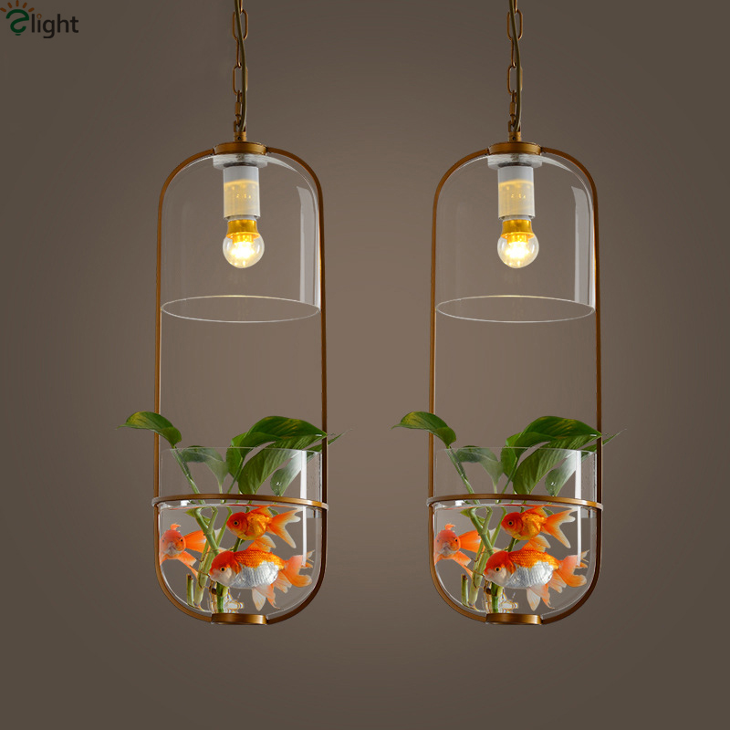 Modern Novelty Metal Led Pendant Lights Glass Tank Living Room Led ...