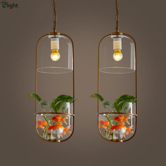 Modern Novelty Metal Led Pendant Lights Glass Tank Living Room Led ...