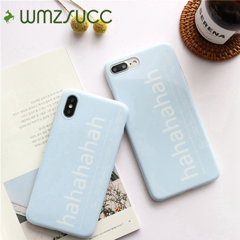 WMZSUCC Baby Blue Hahahahah Soft TPU Case for iPhone iPhone7plus/8/6s Full Cover Protective Case For iPhone X 6