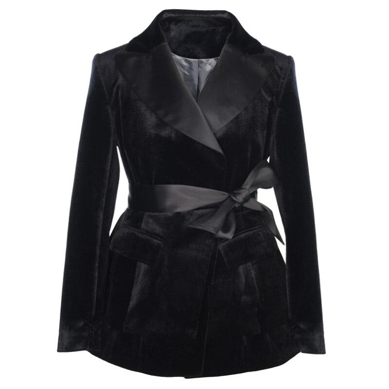 Velours Vêtements Up Mince Tunique Taille Black Le Tops Pour Ceinture Paris D'hiver Costume Bureau Femme Lsysag Mode Manteau 2018 Noir Dentelle Femmes Haute w0fqIp