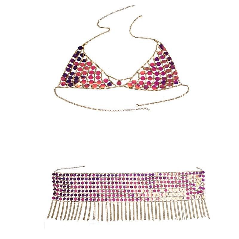 Sexy Bling Body chain bra Necklace Sequins Women Summer Beach Waist chain Nightclub Queen Party Body jewelry in Body Jewelry from Jewelry Accessories