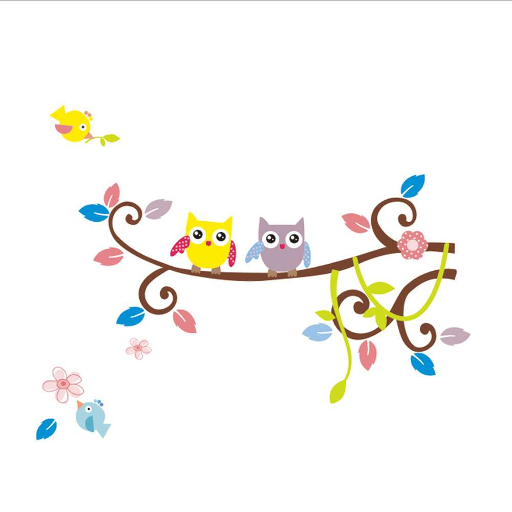Colorful Flower Tree Owl Cartoon Removable Wall Stickers