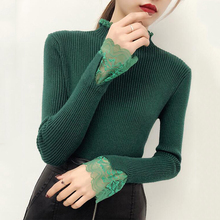 Lace Patchwork Knitted Pullover Women Turtleneck 2018 Autumn Winter Women Sweaters And Pullovers Female Tricot Jumper Pull Femme high elastic striped jumper women clothes 2018 autumn winter women sweaters and pullovers female tricot pull femme winter top