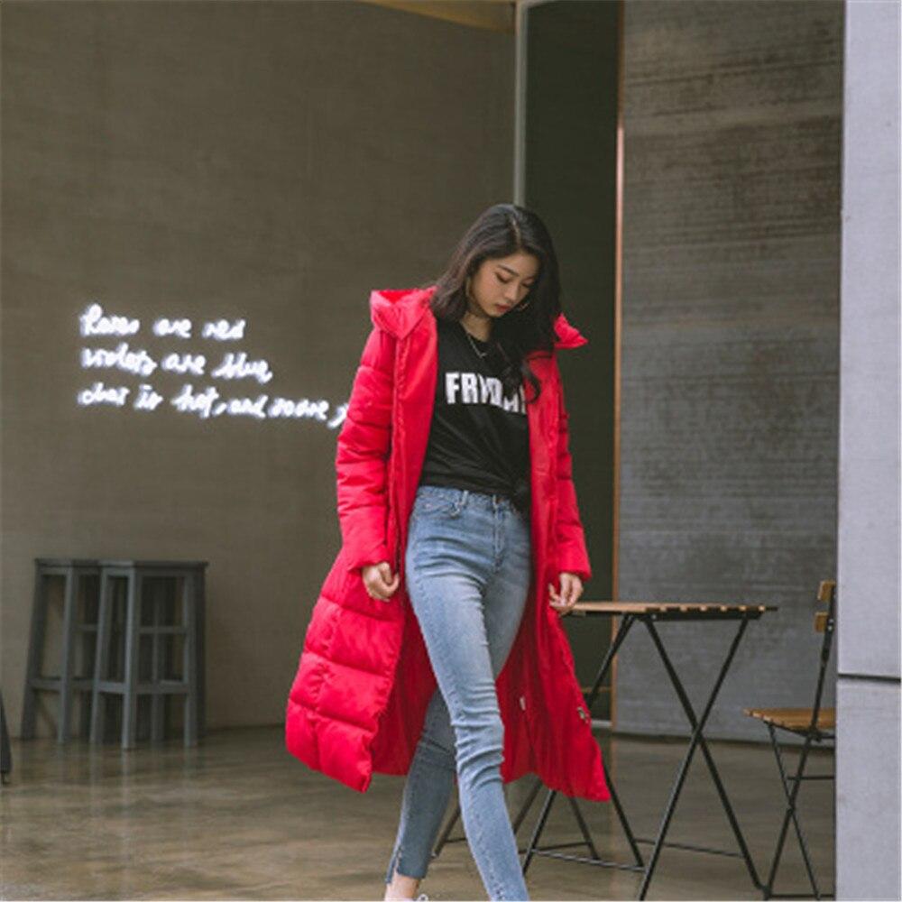 noir corail Chaud Uigurgal Parkas Veste Bas Rembourrée Rouge Épaissir rouge Beige Longue Femmes Capuchon À D'hiver 2018 Manteau qUXwU6aR