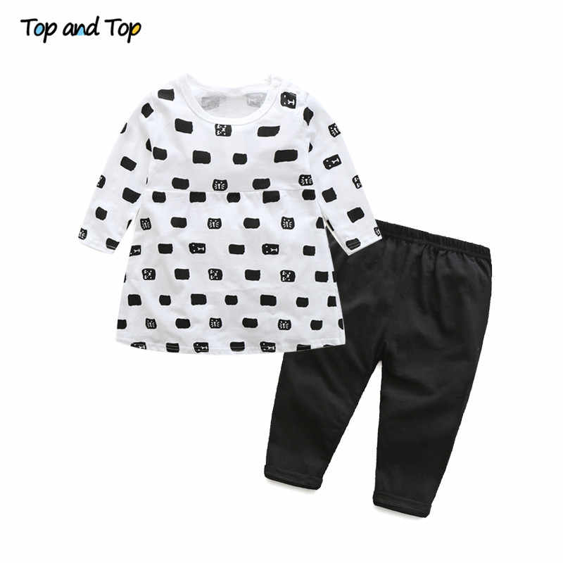 Top and top baby girl clothing set autumn cotton long sleeve cartoon t-shirt+pants casual baby clothes toddler girl clothing