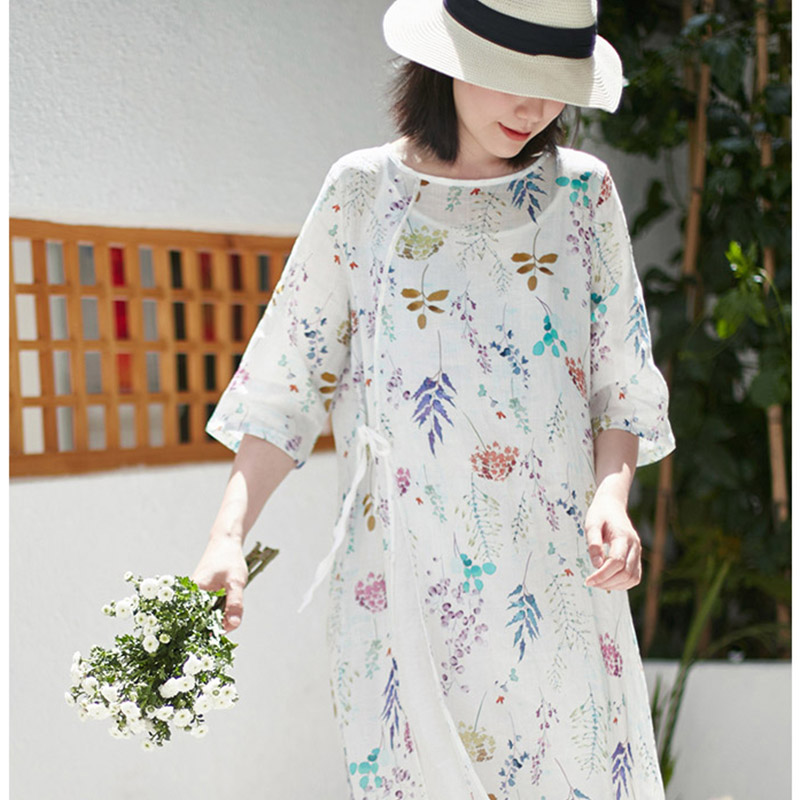 Scuwlin 2019 femmes robe d'été imprimé o-cou haute fente laçage a-ligne Ramie robe de plage robe longue décontractée Vestidos S876