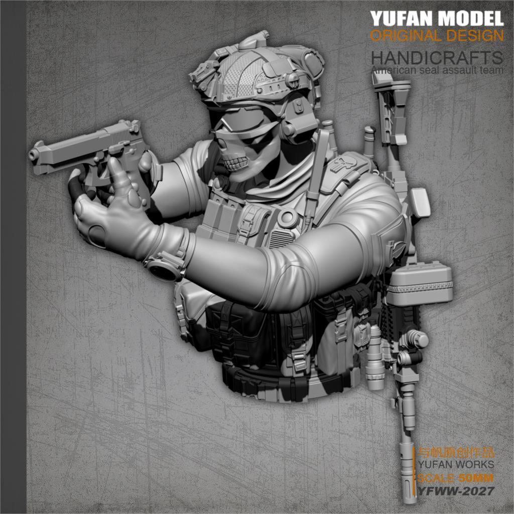 YUFan Model  Resin Kits Bust US Navy SEAL Resin Soldier  Self-assembled YFWW-2027