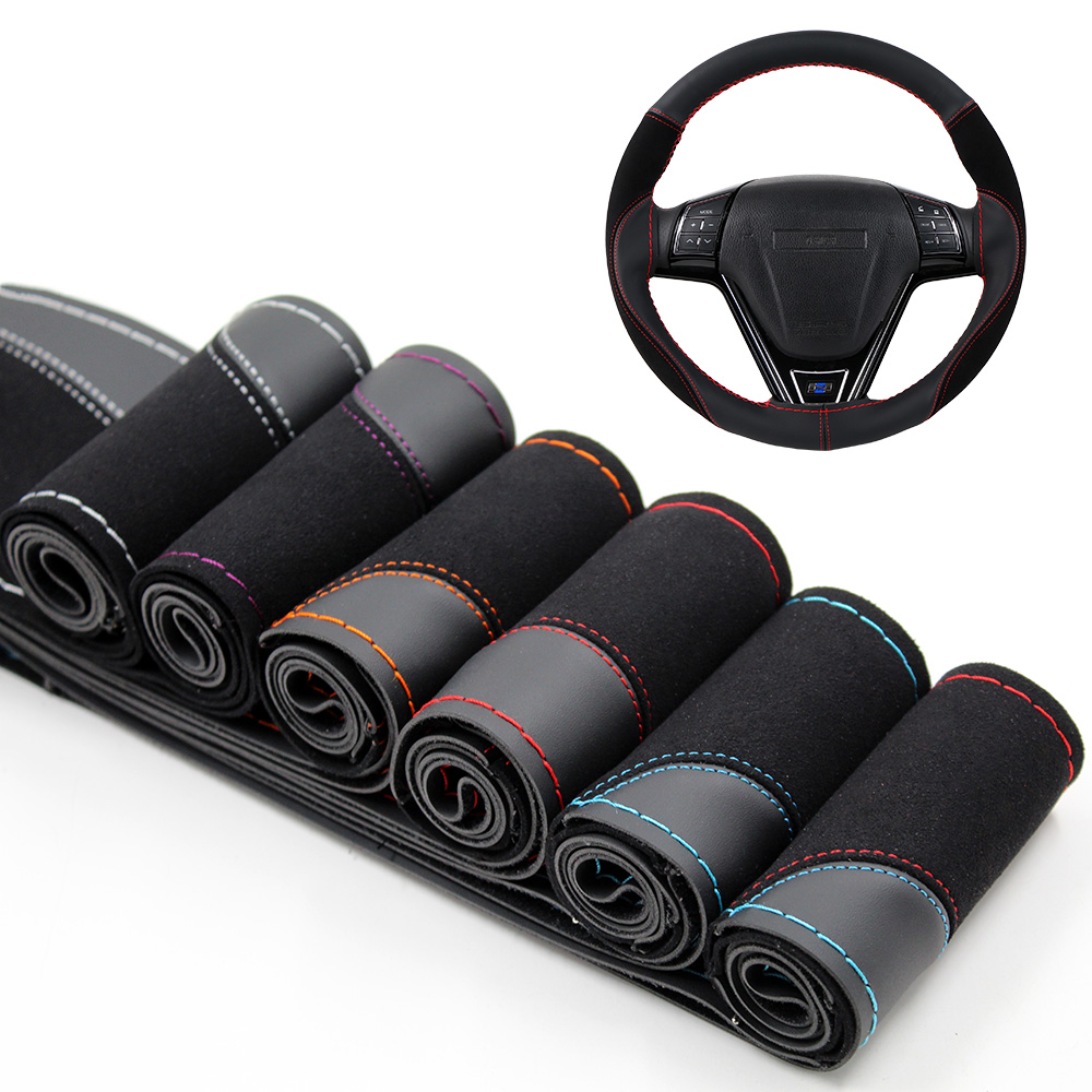 O SHI CAR 38cm DIY Steering Wheel Cover Wear-resistant Soft PU + Suede Leather Car Steering-Wheel Braid With Needles Thread(China)