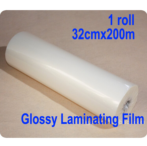Free shipping 1 roll 32cmx200m Glossy Hot Laminating Film 1 Core Laminator 13x 656' 1mil quality guarantee yellow matte vinyl wrap film foil car sticker with air bubble free fedex free shipping size 1 52 30m roll