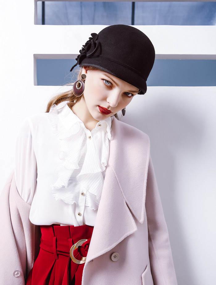79d24996921576 Fibonacci 2017 New Women Wool Felt Hat Elegant Female Small Fedoras Floral  Dome Fedora Hats. 11 11 (1) ...