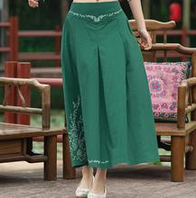 2017 Summer Women National Art Wind Elastic Waist Embroidered Skirts Embroidery A-line Casual Ankle-length Long Skirts Womens