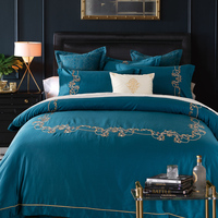 Long staple Cotton Oriental Embroidery blue Color Hotel Bedding sets King Queen size Bed set Duvet cover set heet