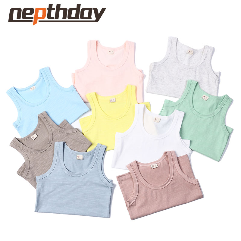 NEW Kids Solid Candy Color Children's Summer Tops Clothes Sleeveless Shirts Tanks Camisoles Vest For Children Boys Girls 15-090 elegant candy color stand collar sleeveless jumpsuit for women