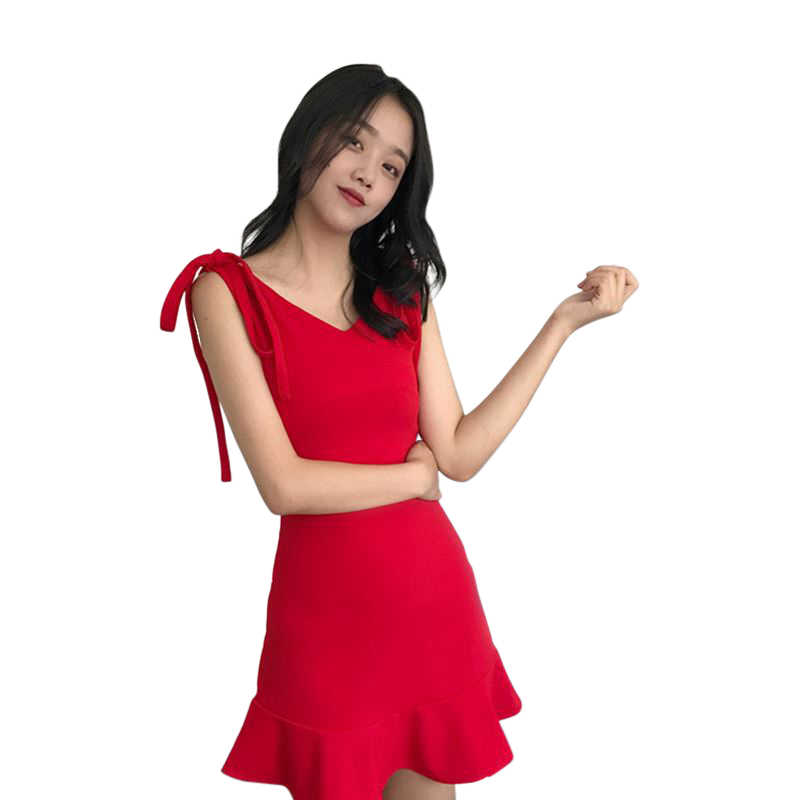 Con scollo a v Senza Maniche Sling Vestito Sexy Fishtail 2018 Nuovo Arrivo Aderente Vestito Dalla Spiaggia Per Il Partito E Club-Nero/Rosso