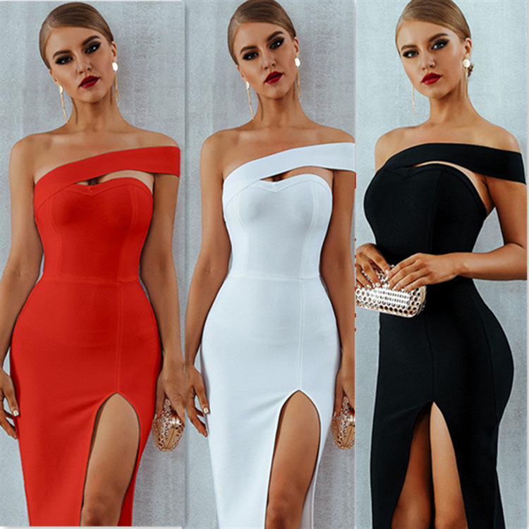 Bandage <font><b>Dress</b></font> Women Summer <font><b>Sexy</b></font> Elegant White <font><b>Black</b></font> One Shoulder Celebrity Party <font><b>Dresses</b></font> image