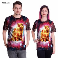 VOGRACE 3d Print New Christmas T Shirts Cat Space Galaxy Hoodie Hooded Tee Cool T Shirt
