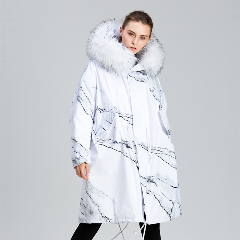 Oversized Winter Jacket Women Chic Print Large Fur Collar White Duck   Down     Coat   2019 New Arrival Hooded Long Womens   Down   Jacket