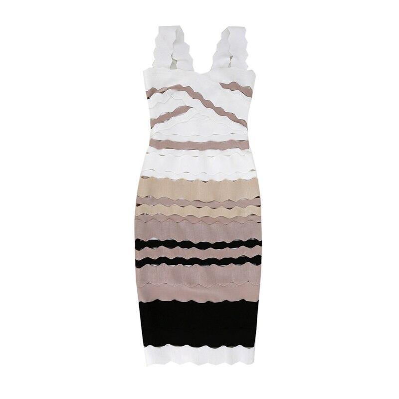 Rayon Manches Homecoming Sexy Blanc Parti Bandage Qualité Rayé Genou Sans Longueur Au Robe Haute Kaki HnT4a