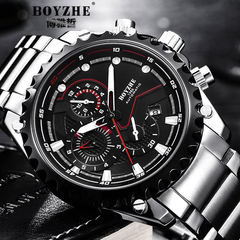 BOYZHE Top Brand Luxury Mens Wristwatches Sports Steel Business Mechanical Watch Military Waterproof Luminous relogio masculino все цены
