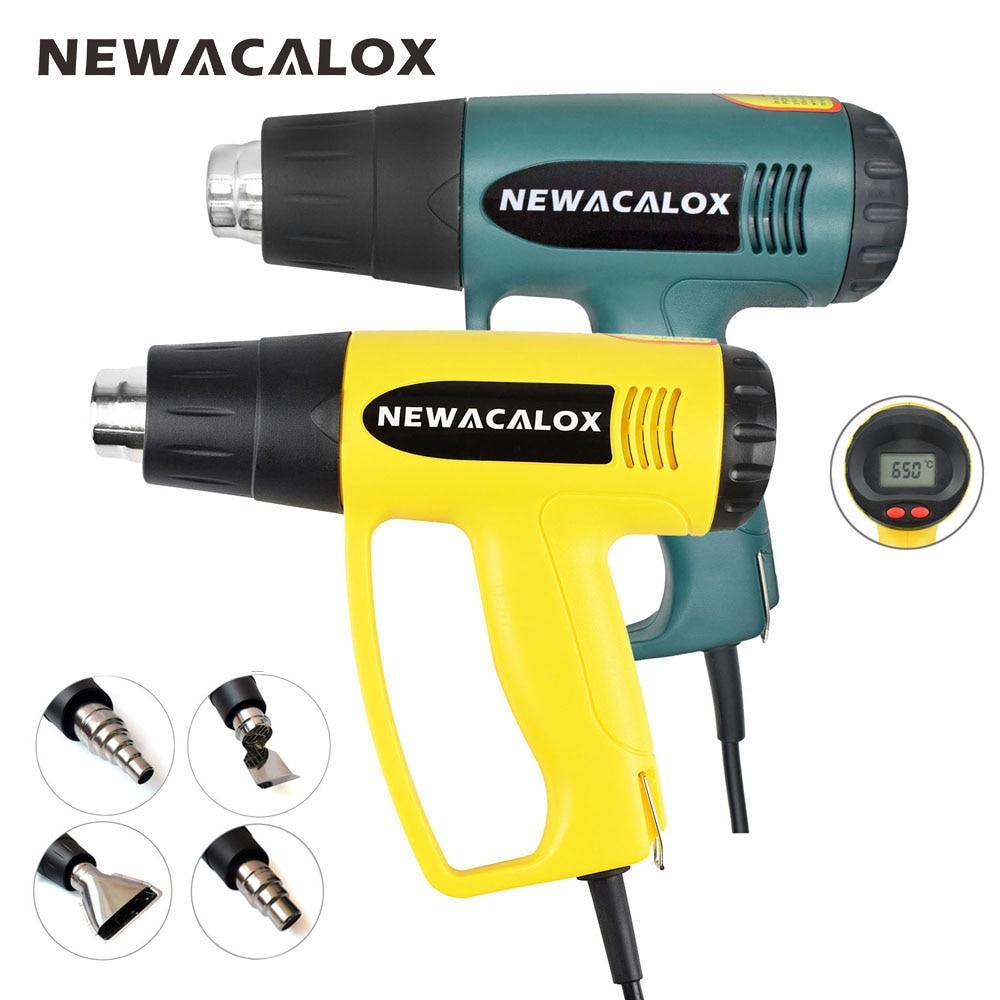 NEWACALOX 2000 w 220 v UE Plug Industrielle Électrique Pistolet À Air Chaud Thermorégulateur LCD Pistolets à air chaud D'emballage Rétractable Thermique Chauffe- buse