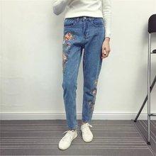 2017 весна брюки женщины мода вышивка джинсы женщина джинсовые брюки женщины высокой талией джинсы