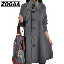 ZOGAA New Winter Womens Fashion Woolen Coat Casual Batwing Sleeve Overcoat 2018 Outware Women Loose Cotton Hoodies Jacket