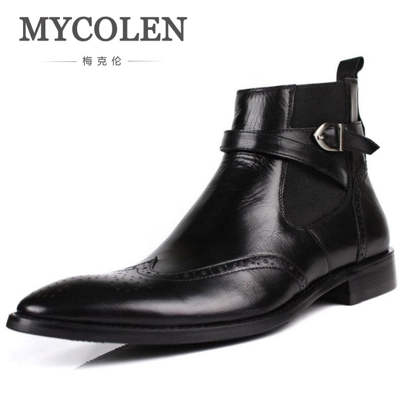 MYCOLEN Men Ankle Boots 2018 New Mens Leather Brogue Shoes Fretwork Male Safety Boat Shoes Pointed Toe Man Waterproof Boot mycolen 2017 fashion winter men boots british style working safety boots casual winter men shoes male black leather ankle boots
