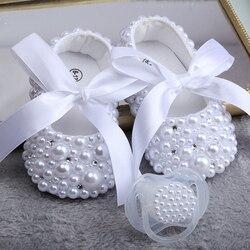 Dollbling/Новинка; чисто белая детская обувь с жемчугом; ручная работа; обувь для крещения; подарок на день рождения; обувь принцессы для маленьк...