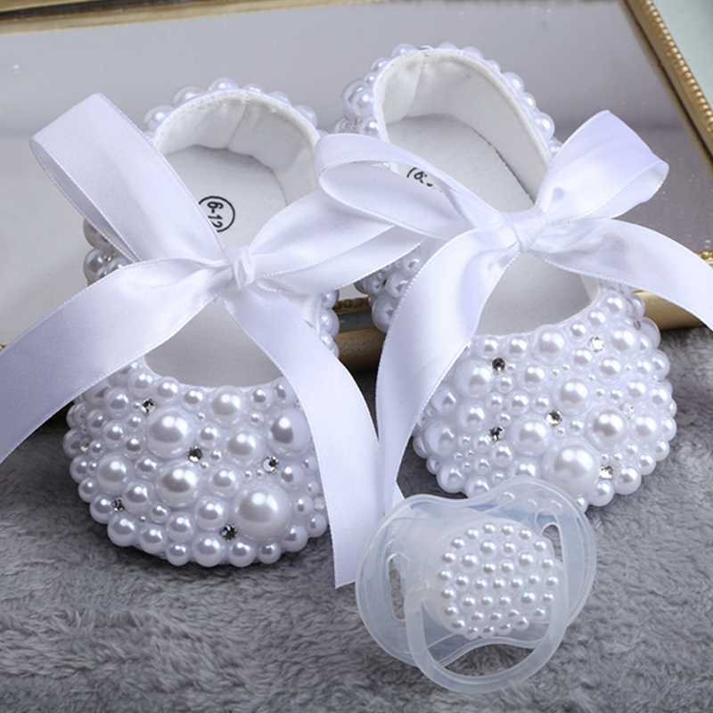 Dollbling New Pure White Children'S Shoes Pearl Customization Handmade Baptism Birthday Present Princess Little Girl Shoes